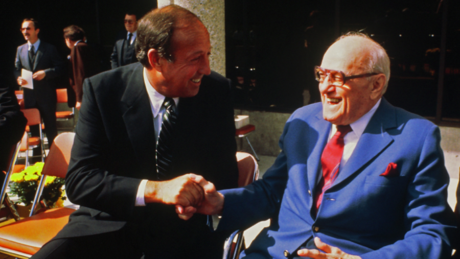 On this day in 1968 George Halas (right)  retired
