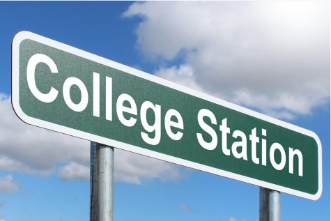 "An image of a road sign saying ""college station""."