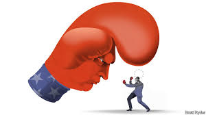 Boxing glove and little person.