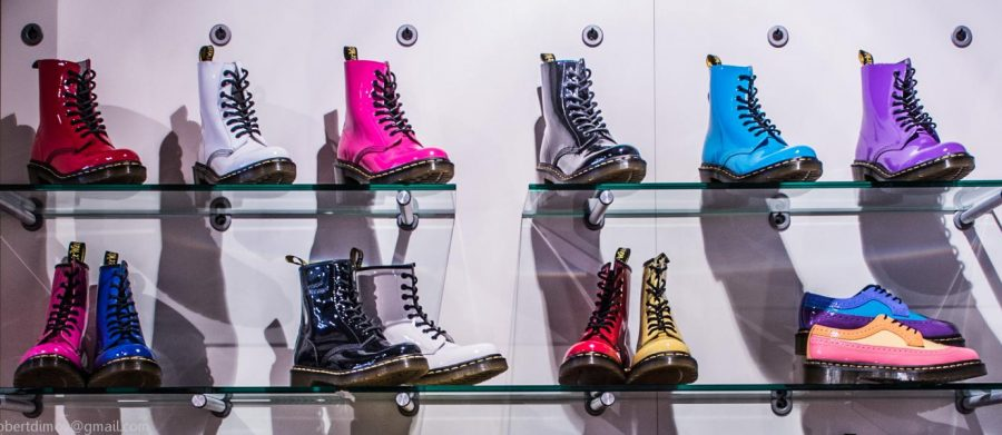The+Dr.+Martens+are+up+on+display+for+customers+to+purchase+in+store%2C+with+many+colors+to+choose+from.