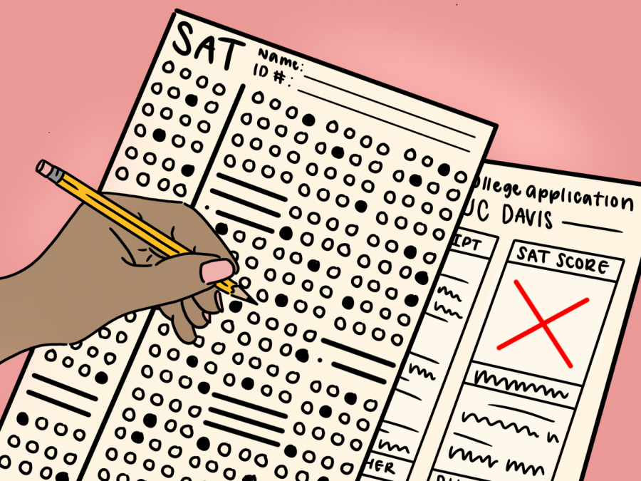 SAT scores shouldn't be factor in college application. One test on one random day should not determine a student's future.