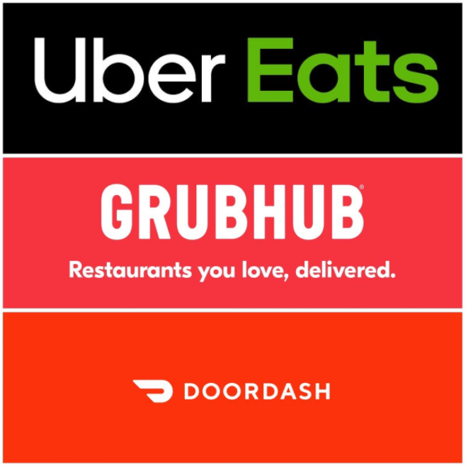 Uber Eats, GrubHub, and DoorDash are the most used food delivery service apps.