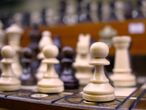 In a regular game of chess, two players work against each other to get the opponent's king and win.