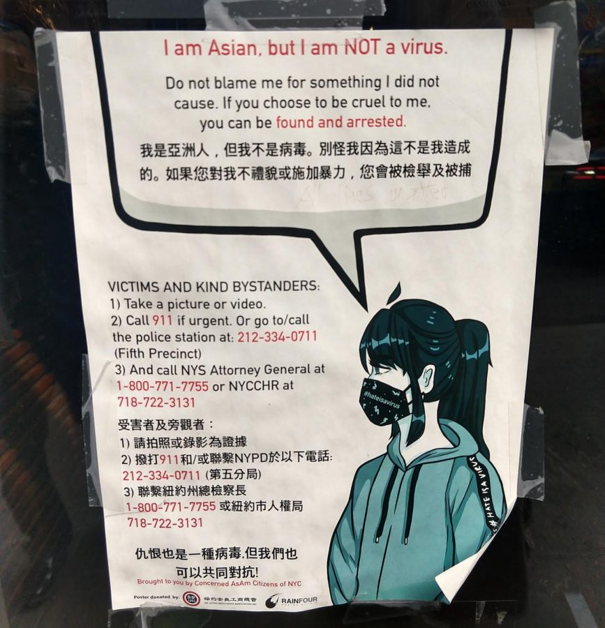 To spread awareness on anti-asian racism, posters were put up in New York City.