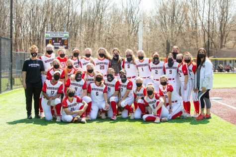 Pictured above is the East Stroudsburg University softball team following a sweep of Felician University. Coach Jaime Wolbach and her team were very ecstatic over the sweep.