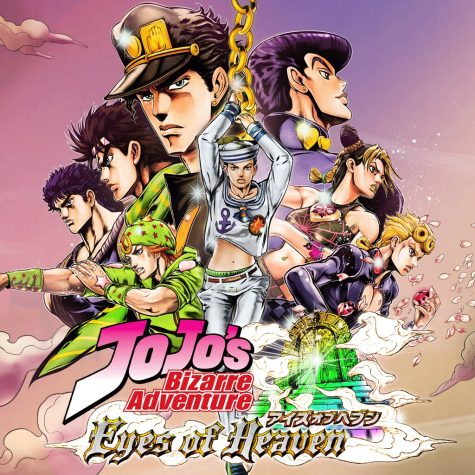 This is a poster for the Jojo fighting game. It depicts every main character from all 8 parts of the manga