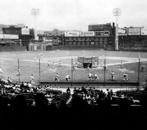 Pictured above is Crosley Field in Cincinnati, Ohio. The Philadelphia Phillies and the Cincinnati Reds played a night game here on May 24, 1935.