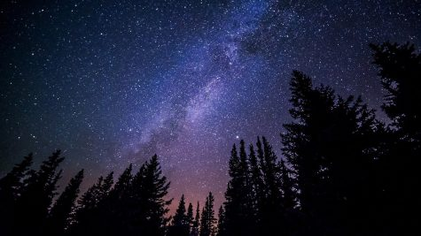 Pictured is the Milky Way galaxy. Billions of stars are able to seen.