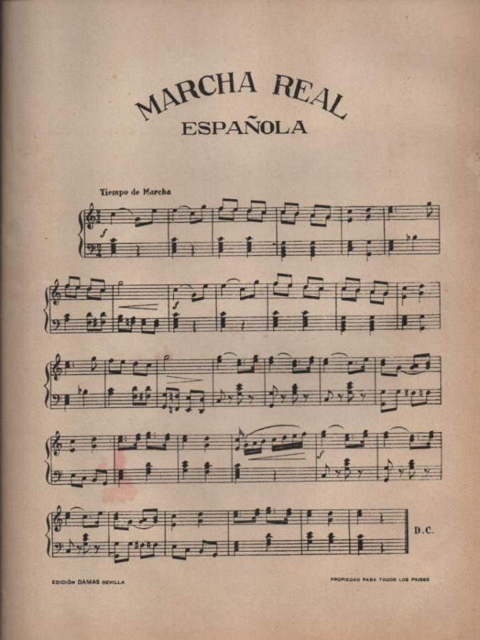 Pictured above is the sheet music for the Marcha Real, the national anthem of Spain. No lyrics are included.